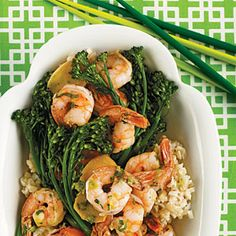 Shrimp Sautéed with Broccolini :: Trying to eat more brown rice.