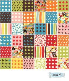 I like a mix of prints, spots and stripes in a single quilt, though not quite this bright.