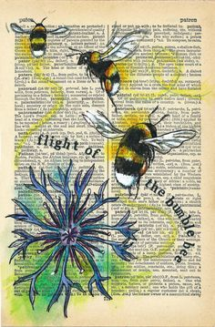 Quirky colourful mixed media illustrations, often repurposing old dictionaries and maps. Old Book Art, Book Page Art, Old Book Pages, Altered Books, Altered Art, Decoupage Printables, Crafts With Pictures, Dictionary Art, Artist Trading Cards
