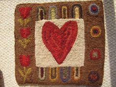 heart hooked rug ~ designed by Sherry Kristoff (From Sherry's Heart) FABulous designer and needlewoman.