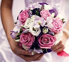 Fiori Bianchi Viola.Mazzi Di Fiori Bellissimi Bouquet Rotondo Rose Rosa Fiori Bianchi