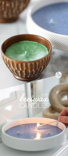 DIY Beeswax Candles - how to make a candle / essentials oils candle - homemade candle making | Inspired by Charm