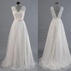 Princess A Line V Neck Empire Waist White Lace Tulle Wedding Dresses,Custom Made Hot Sales Back V Wedding Gowns,Flowers Belt Bridal Wedding Dress Ball Gown