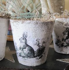 Okio B Designs: Bunny Peat Pots Tutorial Spring Crafts, Holiday Crafts, Happy Easter, Easter Bunny, Easter Tree, Decoupage, Crafts To Make, Diy Crafts, Iron Orchid Designs