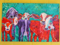 original painting of calves on canvas by Texas artist Diane Kraft