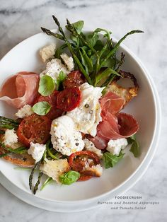 Burrata and roasted asparagus and tomato salad from FoodieCrush