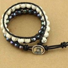 8-9 MM potato 2.5 MM hole white pearls and 8 MM white hoard of handmade fashion bracelets ETS-B191