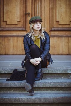 Brixton Hat, Fiddler Cap, Mustard Jumper, Leather, Suede...Autumn/Fall at www.madlenboheme.com
