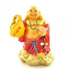 Buddha cu haine rosii pepita si sac cu avere - CadouriSelecte.ro - Magazin feng shui si cadouri selecte.