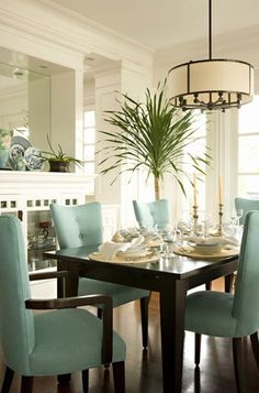 Contemporary dining room showing a beautiful contrast between dark chocolate brown (table and chair leggs) and robin's egg blue chair fabric.