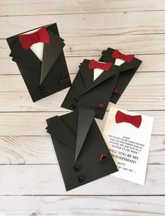 Tuxedo Card, Bow Tie Card, Groomsman Invitation, Personalized Will you be my Best Man, Mens C. Black Tuxedo Bow Tie card – Mens Suit Shaped Invitation – Asking Groomsmen card – Little Man Boy First Birthday, 50th Birthday, Birthday Cards, Birthday Celebration, Birthday Ideas, Tuxedo Card, Bow Tie Party, Custom Bow Ties, Groomsmen Invitation