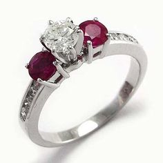 18k White Gold .80ct Ruby .80cwt Diamond Engagement Ring in Sizes 4.5-9.5 #R688