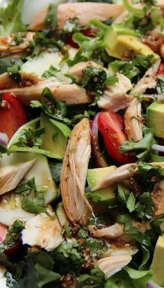 fresh chicken salad with balsamic cilantro dressing.
