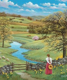 Longing for Nature … ❤ - Malerei Beautiful Paintings, Beautiful Landscapes, Landscape Art, Landscape Paintings, Images D'art, Arte Country, Farm Art, Cottage Art, Art Pictures
