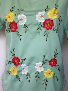 Vintage floral embroidered green top, 70s bohemian boho 1970s, mexican embroidery 60s hippie groovy