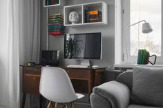 Apartment Designed By Maxim Tikhonov Interior as Reading Space Decorated Among Small White Lampshade Ideas Design as Home Inspiration 1