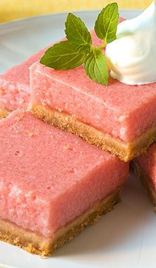 Mouth-Watering+Watermelon+Bars - Watermelon and lemon combine in these refreshing, summery bars.