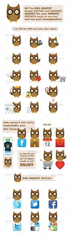Owl Mascot — Photoshop PSD #friend #avatar • Available here → https://graphicriver.net/item/owl-mascot/1715650?ref=pxcr