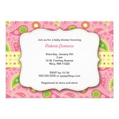 Modern Pink Paisley Girl Baby Shower Invite