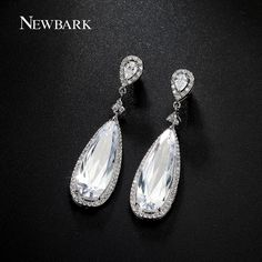 Find More Drop Earrings Information about NEWBARK Luxury Double Pear Shaped CZ…