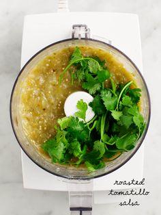 Roasted Tomatillo Salsa - Easy homemade tangy tomatillo salsa.