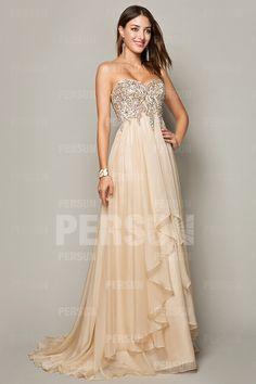 Cream Exquisite Beading Formal Dress with Dissymmetrical Skirt Dressesmall