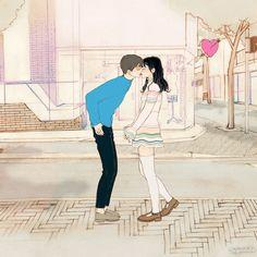韓國살구 salgoolulu動態圖 Animated Gif Illustrator by 살구 salgoolulu Couple Illustration, Illustration Art, Couples Comics, Couple Drawings, Cute Anime Couples, Korean Artist, Couple Art, Cute Love, Anime Love