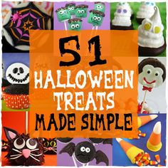 51 Halloween Treats Made Simple... lots of recipes and tutorials for cookies, cake pops, cupcakes...