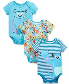 Sulley and friends add vibrant charm to Nannette's three-pack of colorful graphic bodysuits. | Cotton | Machine washable | Imported | Includes 3 bodysuits with assorted Monsters Inc. designs | Crew ne