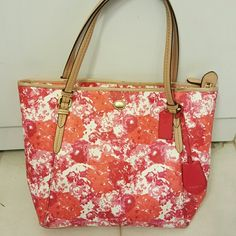 COACH FLORAL PEYTON TOTE Love this purse, good condition with minor flaws as pictured (mostly on handles).  No bundles on any coach or kate spade items. Coach Bags