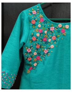 Embroidery On Kurtis, Hand Embroidery Dress, Embroidery On Clothes, Embroidery Fashion, Bullion Embroidery, Simple Embroidery Designs, Hand Embroidery Design Patterns, Kurti Embroidery Design, Embroidery Materials