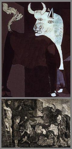 SYMBOLES ET RÉFÉRENCES DANS GUERNICA. La figure du taureau est un motif récurrent dans l'oeuvre entier de Picasso, soit sous la forme de la tauromachie (corrida) soit sous la forme mythologique du Minotaure. Dans Guernica, il est une figure ambigüe, symbole de la bestialité et de la cruauté pour les uns et symbole de la force et de la résistance pour les autres. Pablo Picasso, Picasso Guernica, Picasso Paintings, Old Paintings, Bombing Of Guernica, Fork Art, Culture Art, Spanish Painters, Old Cartoons