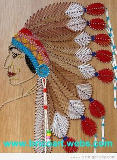 A really nice Native American String Art on a wooden board. I really love the mix of colours and the details! Via Bricoarts String Art and Bricolage Arte Linear, Diy And Crafts, Arts And Crafts, Nail String Art, String Art Patterns, Thread Art, Native American Art, Fabric Painting, Diy Art