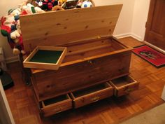 hope chest; I do not like the drawers, but perhaps some cedar organizing inside would be nice.