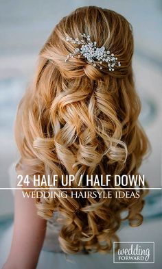 24 Stunning Half Up Half Down Wedding Hairstyles ❤ These elegant curly half…