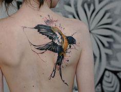 Back piece tattoo - I like the splash of color of this tattoo. It looks so natural. #TattooModels #tattoo