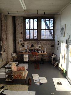 Artist studio in industrial warehouse