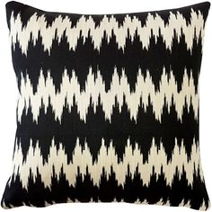 Ikat Stripes Black and Cream Throw Pillow 17x17
