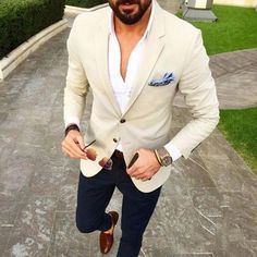 Mens Suits Beige Blazer Navy Blue Pants 2 Piece Groom Tuxedos Slim Fit Men Wedding Prom Party Suit is part of Mens outfits - Terno Casual, Terno Slim, Dress Casual, Mens Fashion Suits, Mens Suits, Fashion Vest, Fashion Shirts, Style Masculin, Party Suits