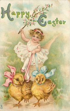Fantasy Easter~Lil Girl Dances on Backs of Exaggerated Chicks~Embos~TUCK~Ser 755