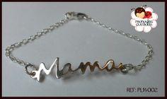 Pulsera mamá en baño de plata y cadena en plata 925. Para las mamás más tradicionales y modernas.