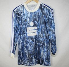 VINTAGE BLUE WHITE ADIDAS TREFOIL FOOTBALL SHIRT RETRO SPORTSWEAR 80s MEDIUM | eBay