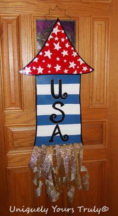 Patriotic Firework Wood Door Hanger by UniquelyYoursTruly on Etsy, $35.00