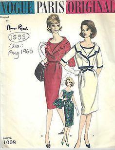 1960 Vintage VOGUE Sewing Pattern B38 BOLERO JACKET & DRESS (1555RR) Nina Ricci