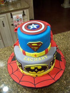 superhero birthday cakes | Superhero cake - Spiderman, Batman, Superman & Captain America ...