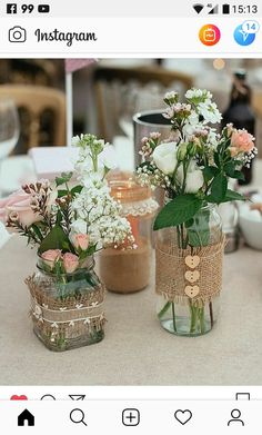Ideas Bridal Shower Decorations Elegant Fall For 2019 Bridal Shower Centerpieces, Mason Jar Centerpieces, Wedding Table Decorations, Mason Jar Crafts, Mason Jar Diy, Bottle Crafts, Deco Champetre, Deco Floral, Rustic Wedding