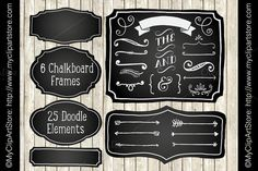 Chalk Board Frames and Doodles by MyClipArtStore on @creativemarket