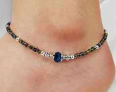 Anklet Ankle Bracelet Turquoise Blue by ABeadApartJewelry on Etsy