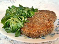 STEACKS LENTILLES ET CEREALES 265 gr de lentilles brunes cuites,100 gr de flocons 5 céréales (avoine, blé, orge, seigle, riz),2 CàS de germes de blé,1 càc ciboulette,2 CàS d'huile d'olive,7 CàS de crème,Chapelure,huile Mélanger lentilles, flocons, germes et ciboulette. Ajouter la crème =pâte homogène. Faire 4boules,déposer sur la chapelure. Aplatir(1,5 cm d'épaisseur max), puis l'enduire de chapelure. Cuire à la poèle avec de l'huile. Servir chaud.