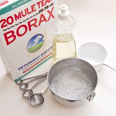 DIY Upholstery Cleaner: 3 tablespoons dish soap 1 tablespoon Borax 1 cup boiling water Small mixing bowl Funnel (optional) Small spray bottle